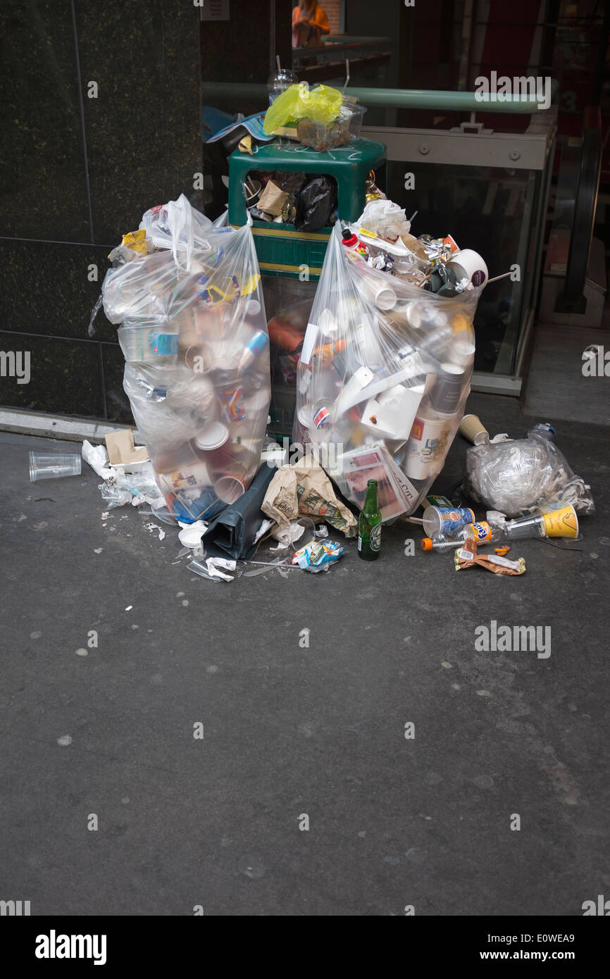 Overflowing Trash or Rubbish Bins - Stock Image