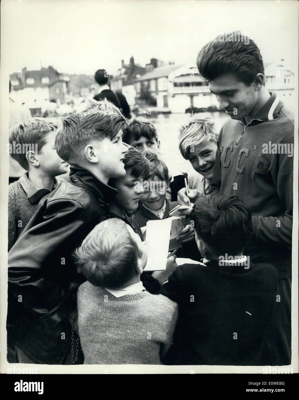 Jul. 07, 1962 - Muscovites on the Thames Henley Royal Regatta: Photo Shows Boris Dubrovsky of the Central Army Sports Club, Moscow, signs autograph albums at the Royal Regatta, Hanley, today. He is participating in the Diamond Sculls. - Stock Image