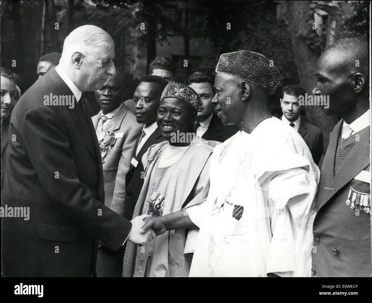 Jul. 13, 1962 - General de Gaulle with Notable Personages from Overseas - Stock Image