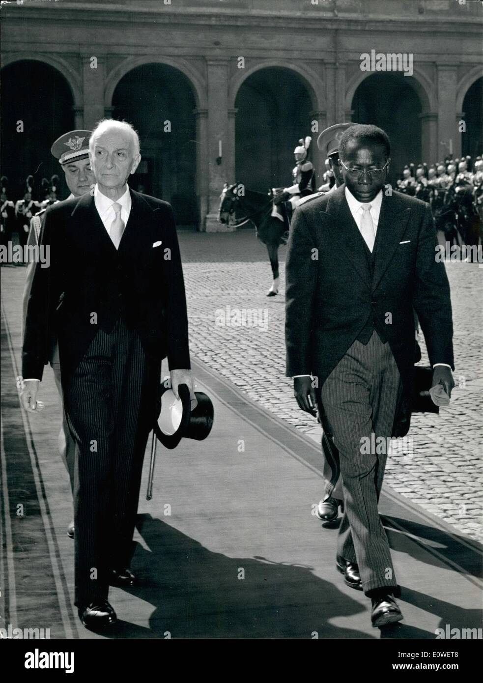 Oct. 10, 1962 - The President of the republic of Senala, Mr. Leopold Seder Senghor is in Rome to the official visit. Photo shows Mr. L.S. Senghor and Italian President hon. Antonio Segni at their arrival at Quirinale Palace. - Stock Image