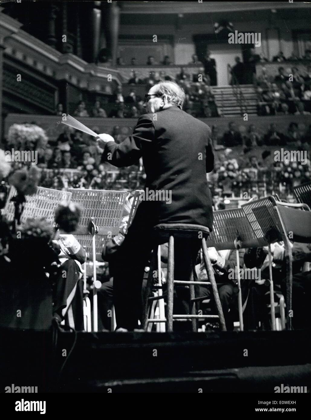 Oct. 10, 1962 - The Sit-Down Band Conductor's Triumph: A sick man left his bed on Saturday to help 25 men win the Stock Photo