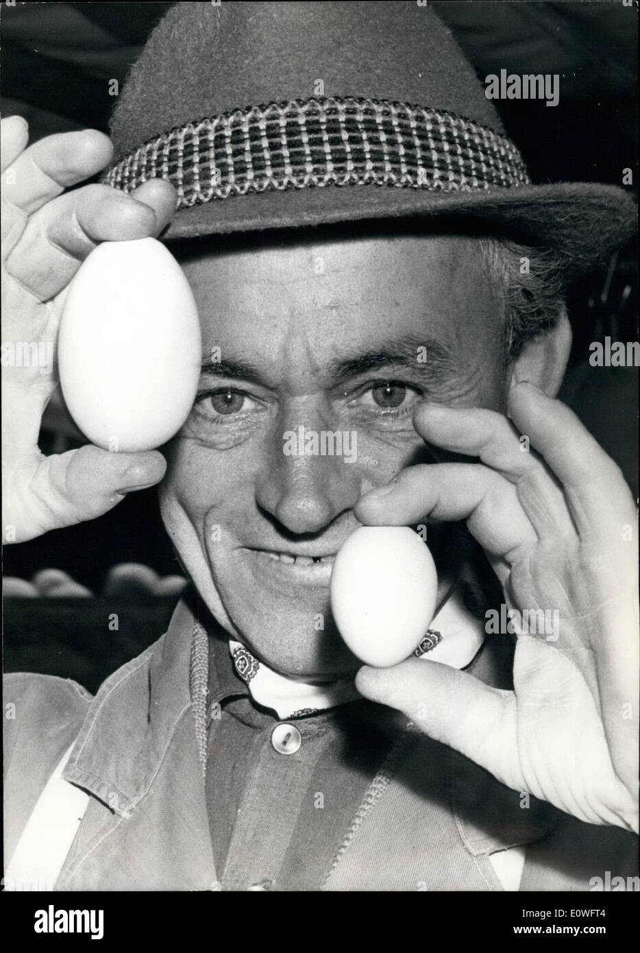 Nov. 11, 1962 - Geese eggs? asked the distrustful inhabitants of Bonn, when egg of abnormal big size were offered to them on the market. However the trader could give the guarantee, that these eggs are produced by hens and not by geese, - but of this size hens egg are rare. Everybody who wants to eat such an egg soft boiled , has to boiled these things not only 5 minutes as usual but 8 minutes. Our Picture shows the difference between the sizes: from left to right - giant egg, trader, egg of a young hen. - Stock Image