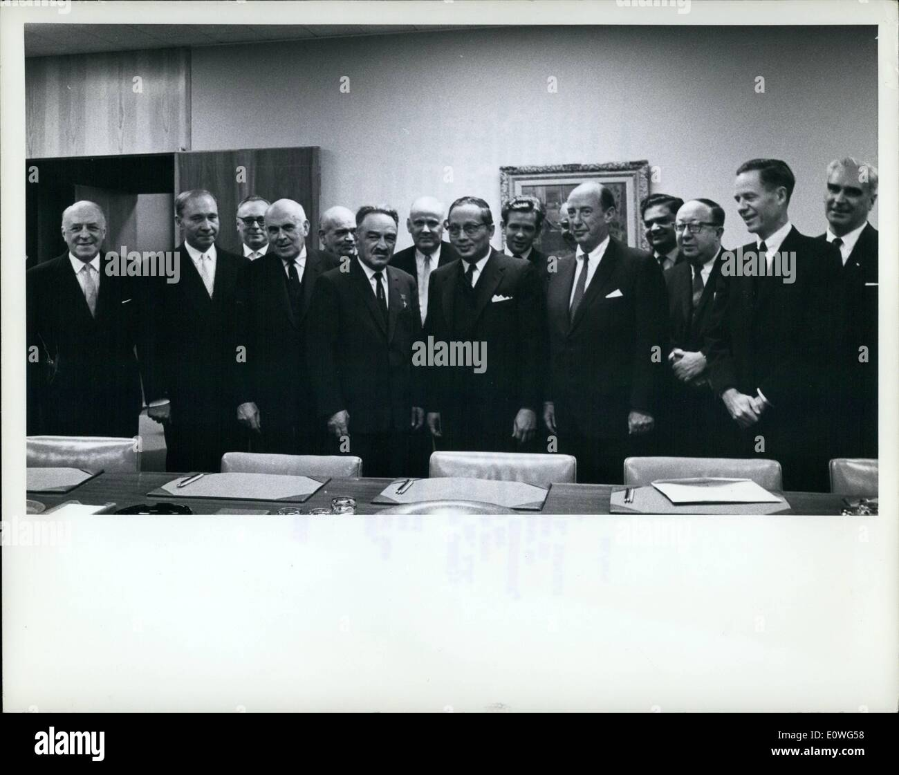 Nov. 11, 1962 - Deputy Premier of The USSR Confers With UN Acting Secretary-General On The Cuban Situation. Mr. Anastas I. Mikoyan (4th from left), Deputy Premier of the USSR, is seen with U Thant (5th from left0, Actin Secretary-General of the United Nations, and representatives of the interested parties as talks continued at United Nations Headquarters on unsettled phases of the Cuban situation. Front row (l. to r.): Mr. V.A. Zorin (USSR); Mr. V.V. Kuznetsov (USSR); Mr. J.J. McCloy (United States); Mr. C.W. Yost (United States). Back row: Mr. L.I. Mendelevich (USSR); Mr. O - Stock Image