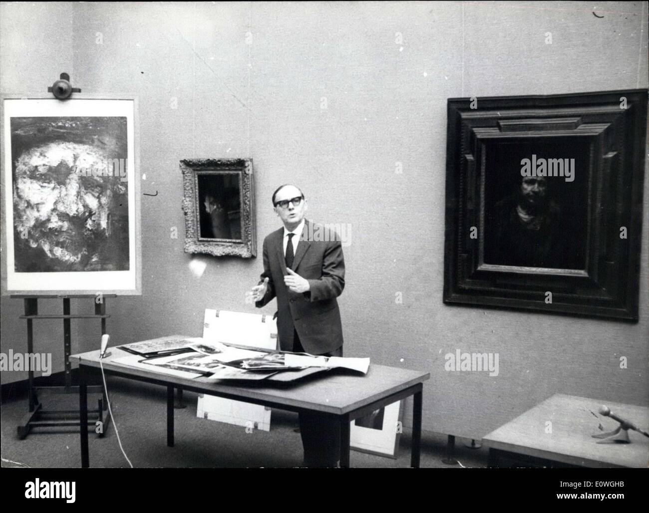 Dec. 03, 1962 - Rembrandt stays in Stuttgart: the disputed Rembrandt-self-portrait will be also in the future in the public-gallery of Stuttgart. As it is called by minister of culture Dr. Storz, this mentioned painting does not be a copy and also not a falsification. The painting was tested by the Coreman-institut of Bruessels and also of some famous Rembrandt-specialist as Prof. Muller-Hostede or Prof. Rosenberg and now it is clear, that this self-portrait is an original - Stock Image