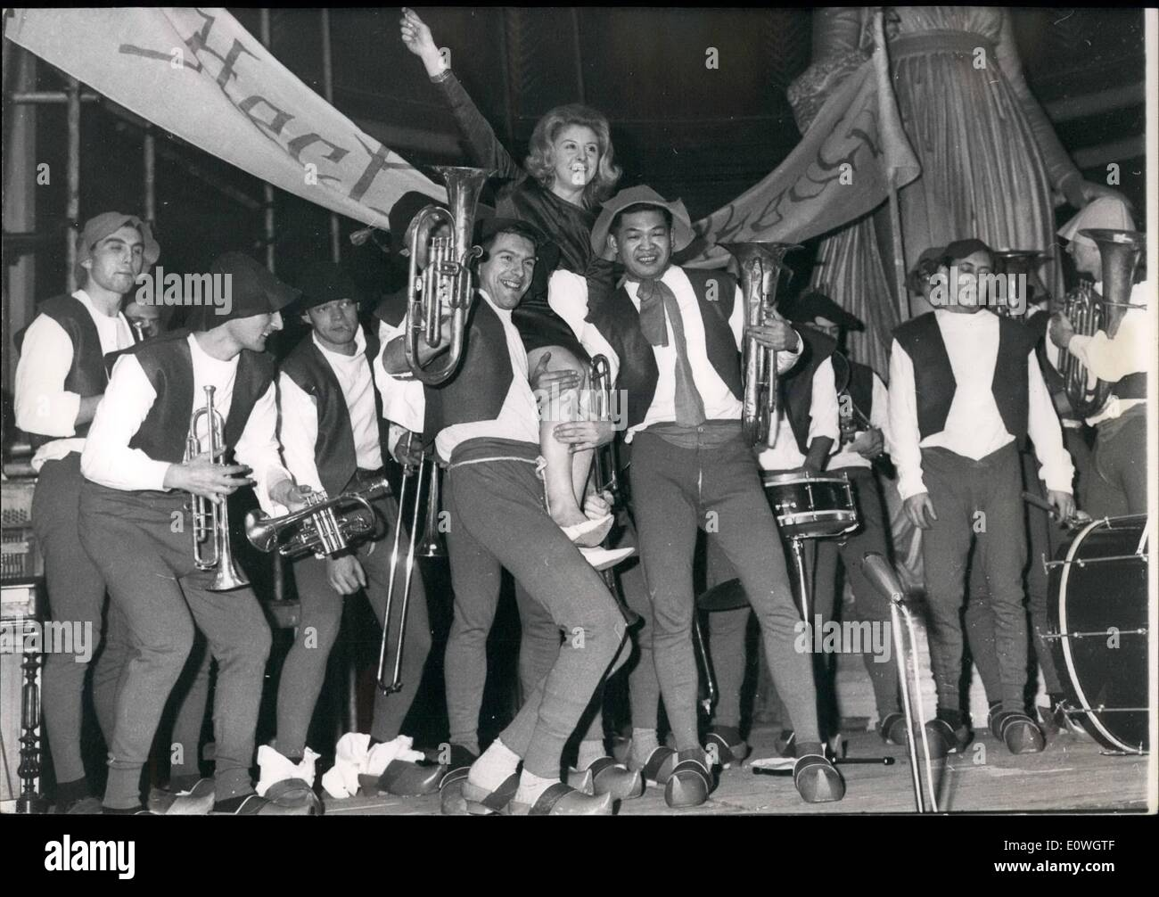Dec. 12, 1962 - The Felue Band was vote the best band at the Fine Arts School during a contest held at the school's gala that was organized by students. The composer Claude Blondy, who wrote ''Clair de Lune a Maubeuge,'' wrote a tune called ''village party,'' which was the t - Stock Image