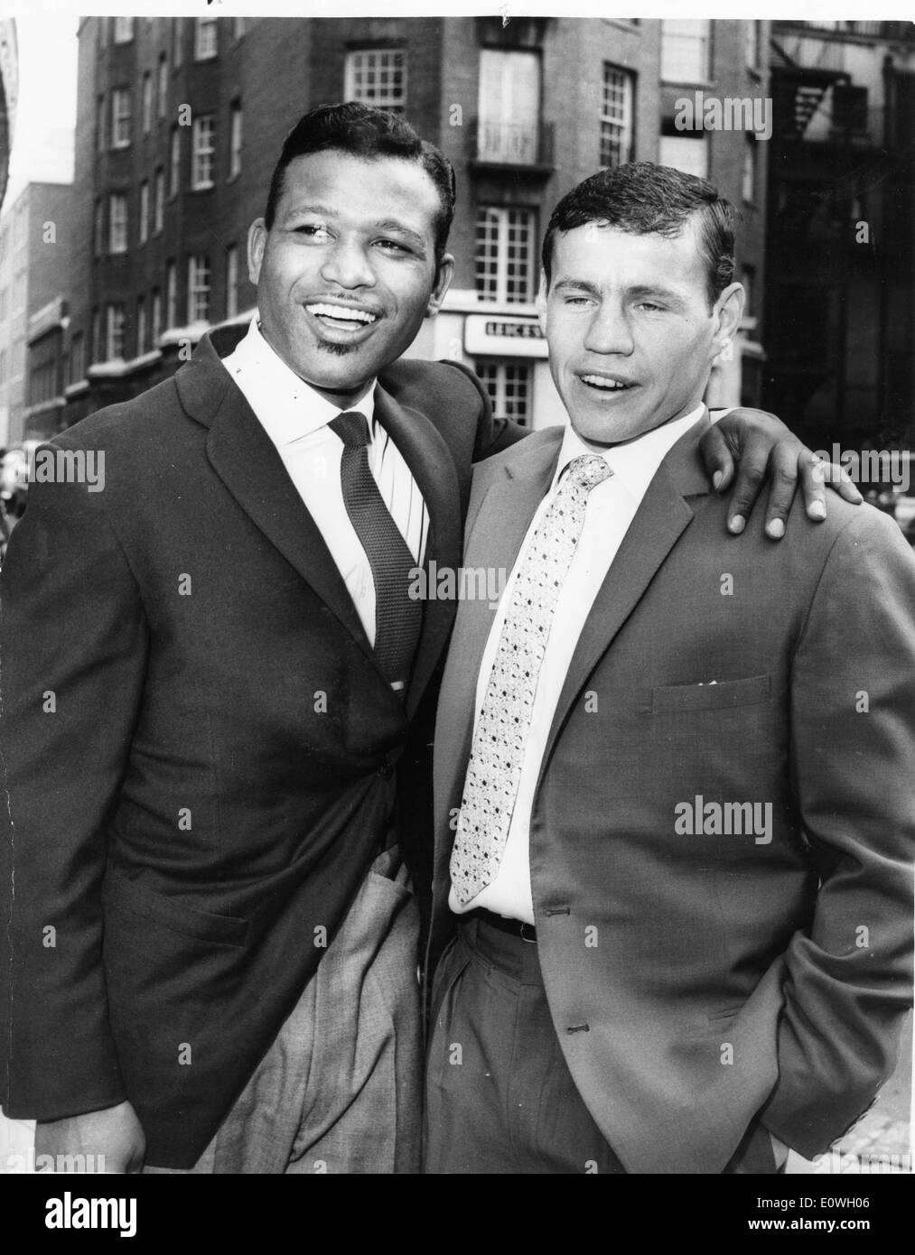 Sugar Ray Robinson and Terry Downes before their match at Wembley - Stock Image