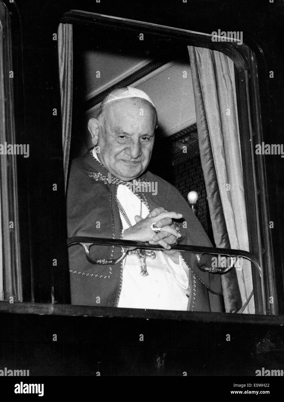 Pope John XXIII on his pilgrimage around Italy - Stock Image