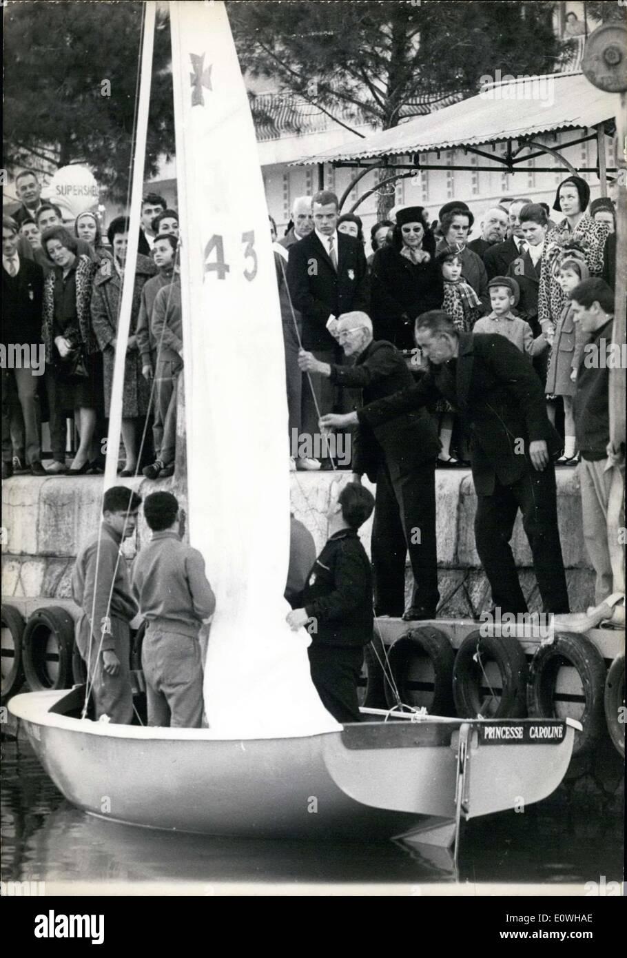 Jan. 28, 1963 - Monaco's Yacht Club Baptises the Caravel ''Princess Caroline' APRESS.c - Stock Image