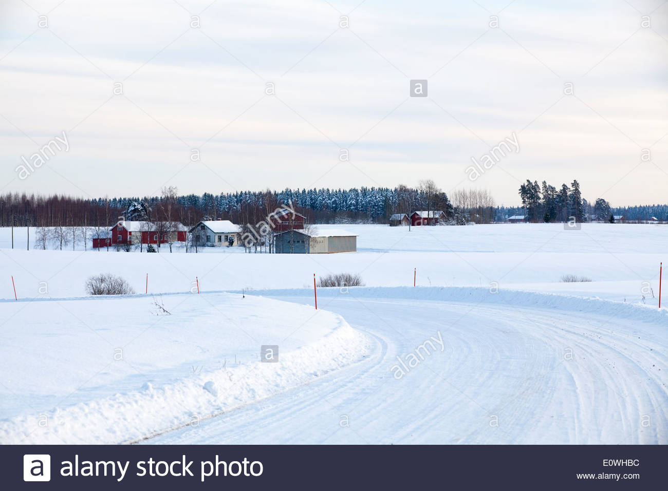 A group of houses in the countryside of Finland - Stock Image