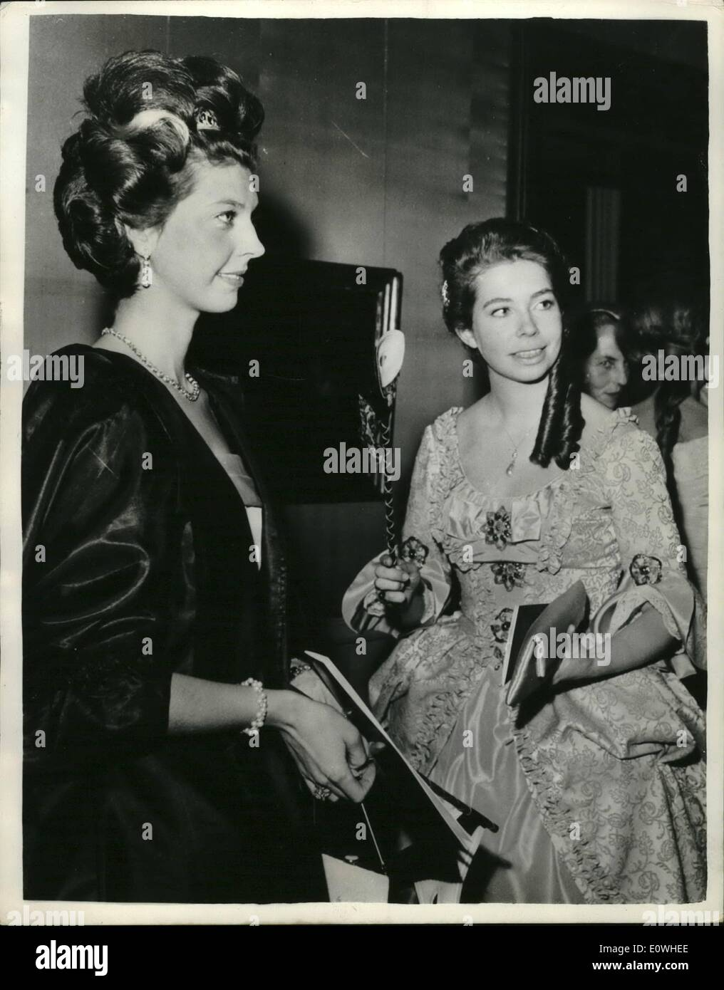 Jan. 01, 1963 - Swedish Princess in Fancy dress: Seen at the Venetian Fancy Dress Ball held recently as the National Art Gallery in Stockholm were the Princesses Desiree and Christina. - Stock Image