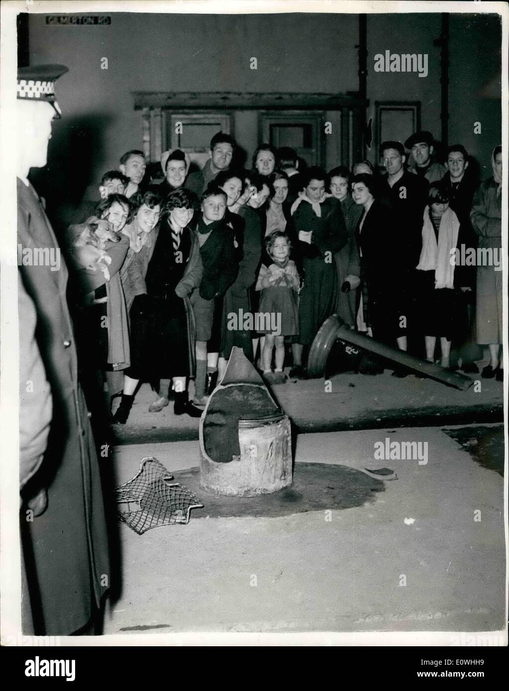 Feb. 02, 1963 - ''E.II.R'' Pillar-box blown up in Edinburgh. believed to be in the work of Scottish nationalists.. Stock Photo