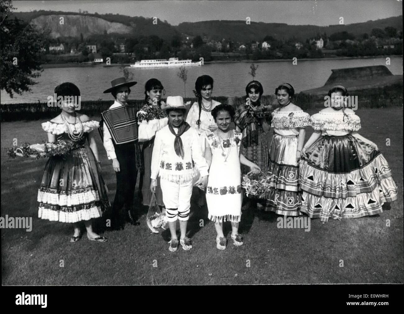 May 05, 1963 - Wife's of the diplomats spend for the convalescence-institution for mothers. The wife's and daughters of the Ambassadors, accredited at Bonn, showed during s a big national costume- and fashion -parade before the national club the well-known historical and also the newest created dress from their native country. This interesting meeting stood under the motto ''The fashion is uniting the women all over the world more than the language''. The net proceeds of this event will get the convalescence- institution for mothers - Stock Image