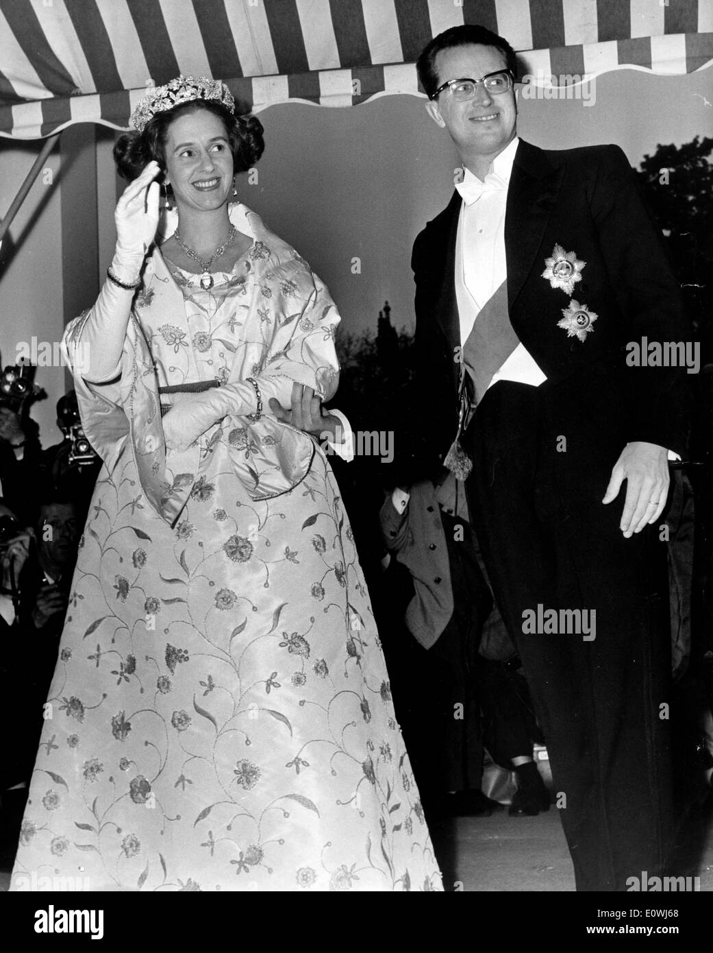 King Baudouin and Queen Fabiola at the Belgian Embassy Stock Photo