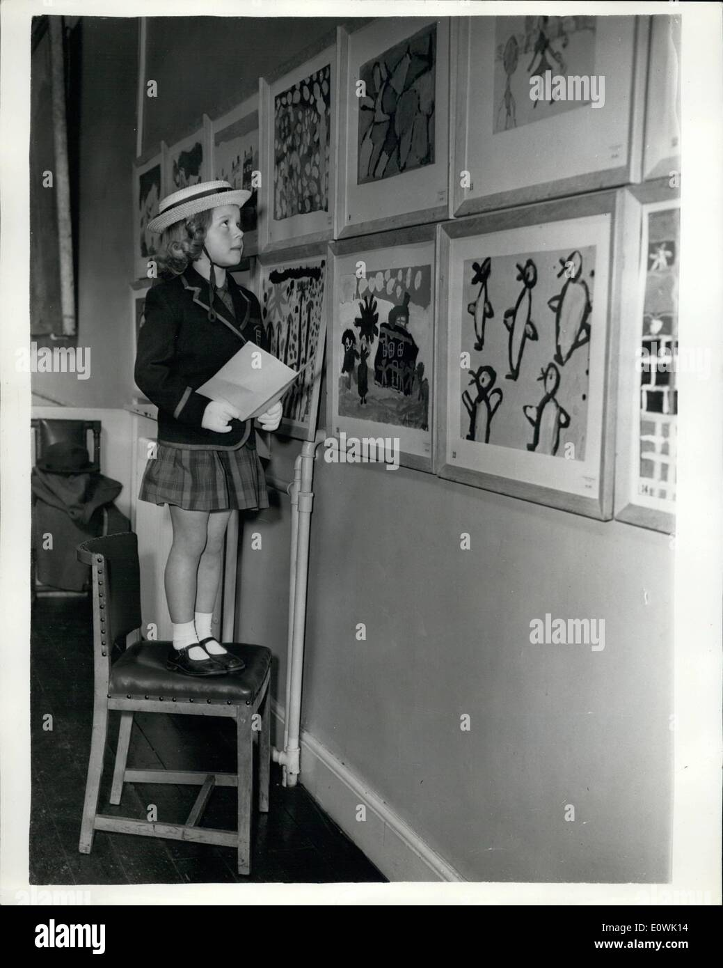 Apr. 04, 1963 - Exhibition of Children's Paintings.: The Royal Drawing Society's Annual Exhibition of Children's Stock Photo
