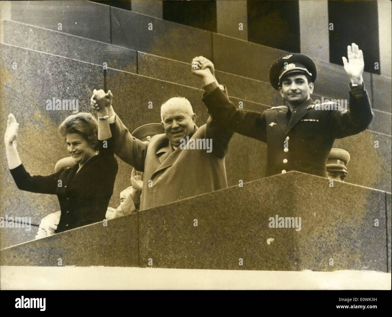 Jun. 06, 1963 - Moscow: N.S.Khrushchev and Cosmonauts V.Tereshkova and Bykoysly Deen here on the V.I. Lenin mausoleum during the rally held to greet the two Cosmonauts in the Red Square here on June 22. - Stock Image