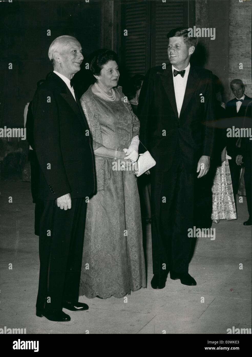 Jul. 07, 1963 - Kennedy, in black tie & tuxedo, with President & Mrs. Segni at dinner for Kennedy at Quirinal Palace Monday night. - Stock Image