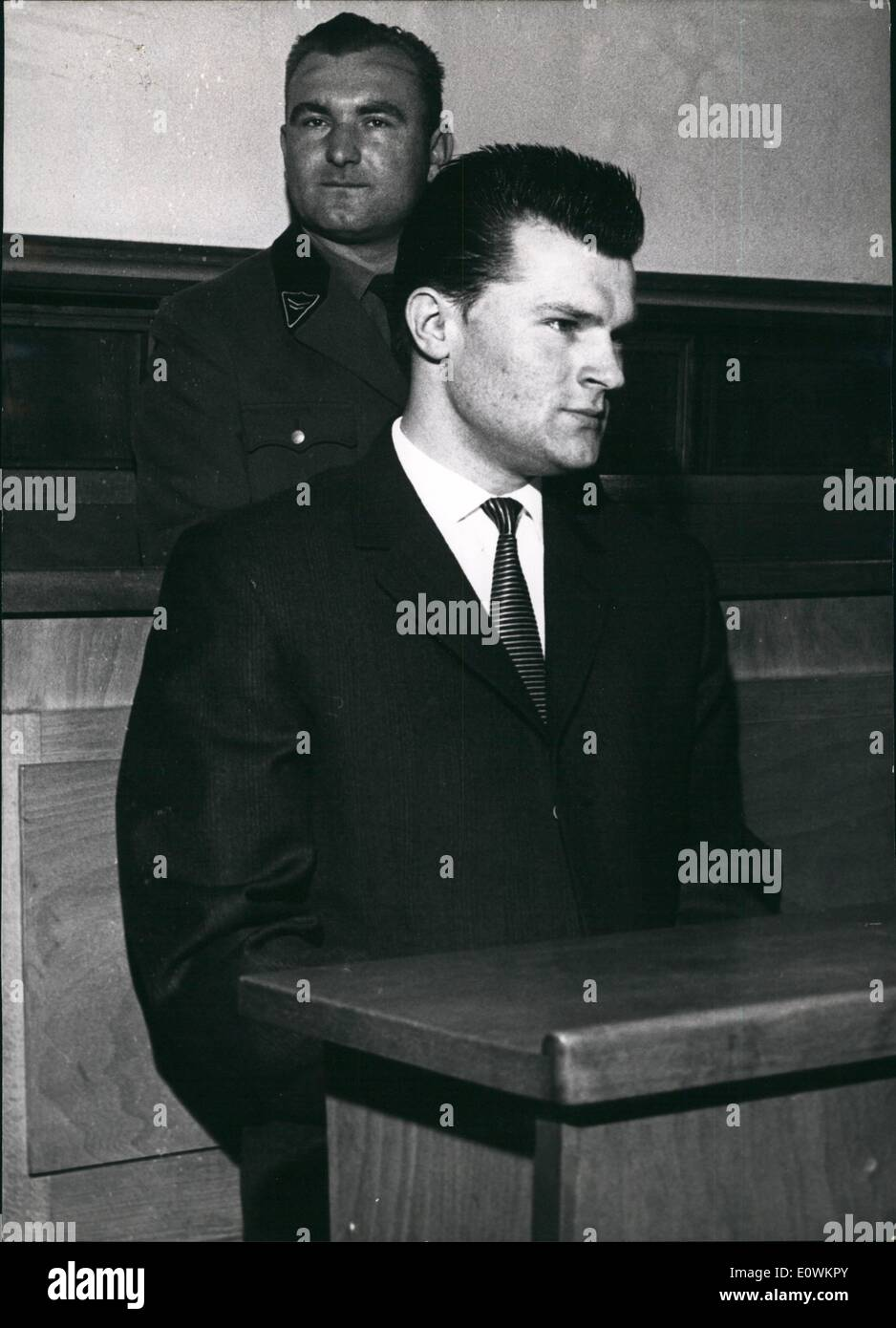 Jul. 07, 1963 - Murder trial against former East German soldier . Trial before the Grand Jury in Stuttgart was opened today against Fritz Richard Hankee (Fritz Richard Hankee), 22, a former soldier of the East German ''People's army'' who, before emigrating to Western Germany himself is accused to have shot and killed an unknown refugee who tried to cross the iron curtian on June 5th 1962. Prior to the trial Hanke has confessed to have shot on the refugee - Stock Image