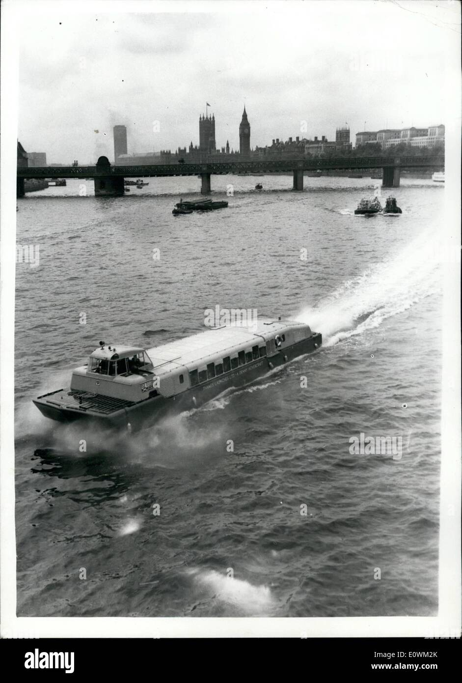 Jul. 07, 1963 - Seventy Seater Hoverbest passenger service inaugurated on the River Thames. This morning Sir Ralph perring the Lard Mayor of London and Lady Perring were passengers aboard the 70 seater D.2. Denny Hoverbus when is made its first official appearance on the River Thames. A Number of other V.IP's took part in the trip from the Royal festival Hall to tower Pier. A bar is being fitted in the craft and Londoners and visitors will be able to make trips from Festival Pier at a time. Photo shows Looking down on the D2 - Stock Image