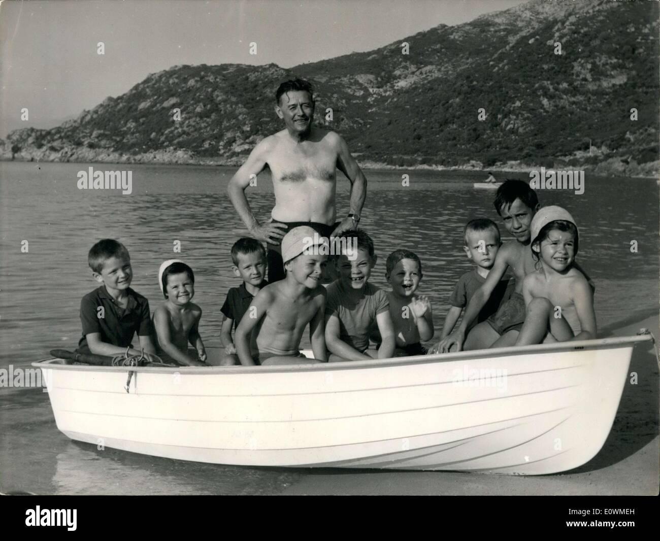Jul. 30, 1963 - Prince Achille Murat with Nine of his Twelve Grandchildren - Stock Image
