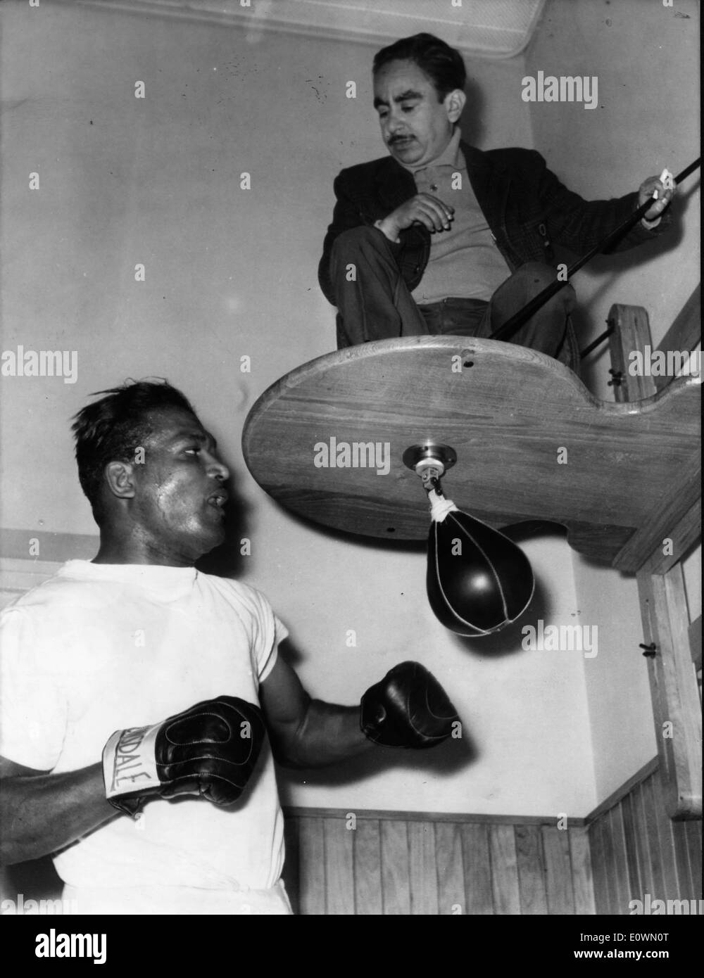 Boxer 'Sugar' Ray Robinson training for a match - Stock Image