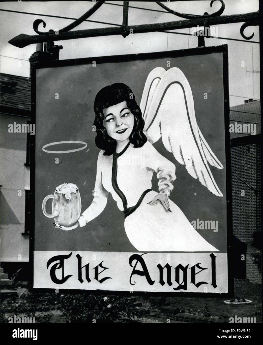 Aug. 13, 1963 - Halo Over Beer Causes Row. Angel Like Christine Keeler: When a new sign appeared over a public house - Stock Image