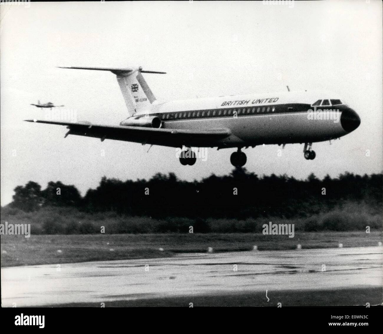 Aug. 20, 1963 - 20-8-63 Bus stop jet maiden flight. The new B.A.C. 111, known as the 'bus stop jet' because it has been designed for short haul work with a very quick turn round, made its maiden flight from Hurn airport last night. The 111 costs about £875,000 and already 60 of them have been sold straight off the drawing board, half of them to American operators. It will be capable of carrying more than 70 passengers plus freight at a speed of 550 mph for journeys of between 150 and 1,000 miles. Photo Shows: After her successful maiden flight, the B.A.C - Stock Image