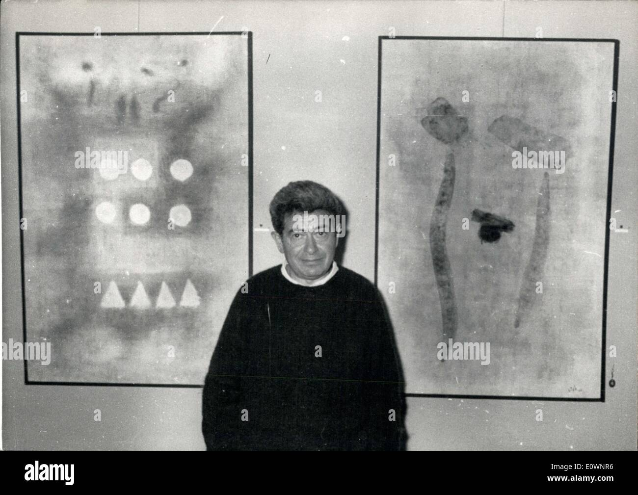 Oct. 18, 1963 - Thomas Gleb and his paintings on display in NYC - Stock Image
