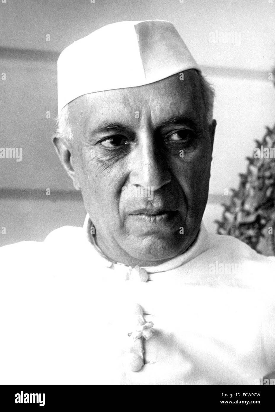 Close-up of Prime Minister of India Jawaharlal Nehru - Stock Image