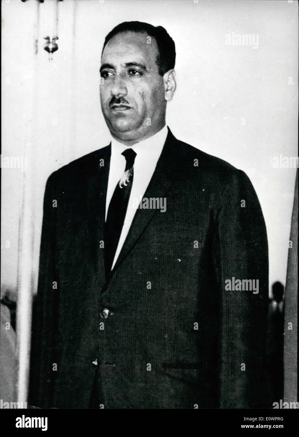 Nov. 11, 1963 - Another Coup in Irak Field Marshal Abdul Salam Aref, the ''figurehead'' president of Irak, seized power today, when he took over in the name of the army. He broadcast a proclamation ordering the armed forces to control the capital of Baghdad and crush any resistance. Photo Shows: A stock portrait of Field Marshal Abdul Salam Aref. - Stock Image