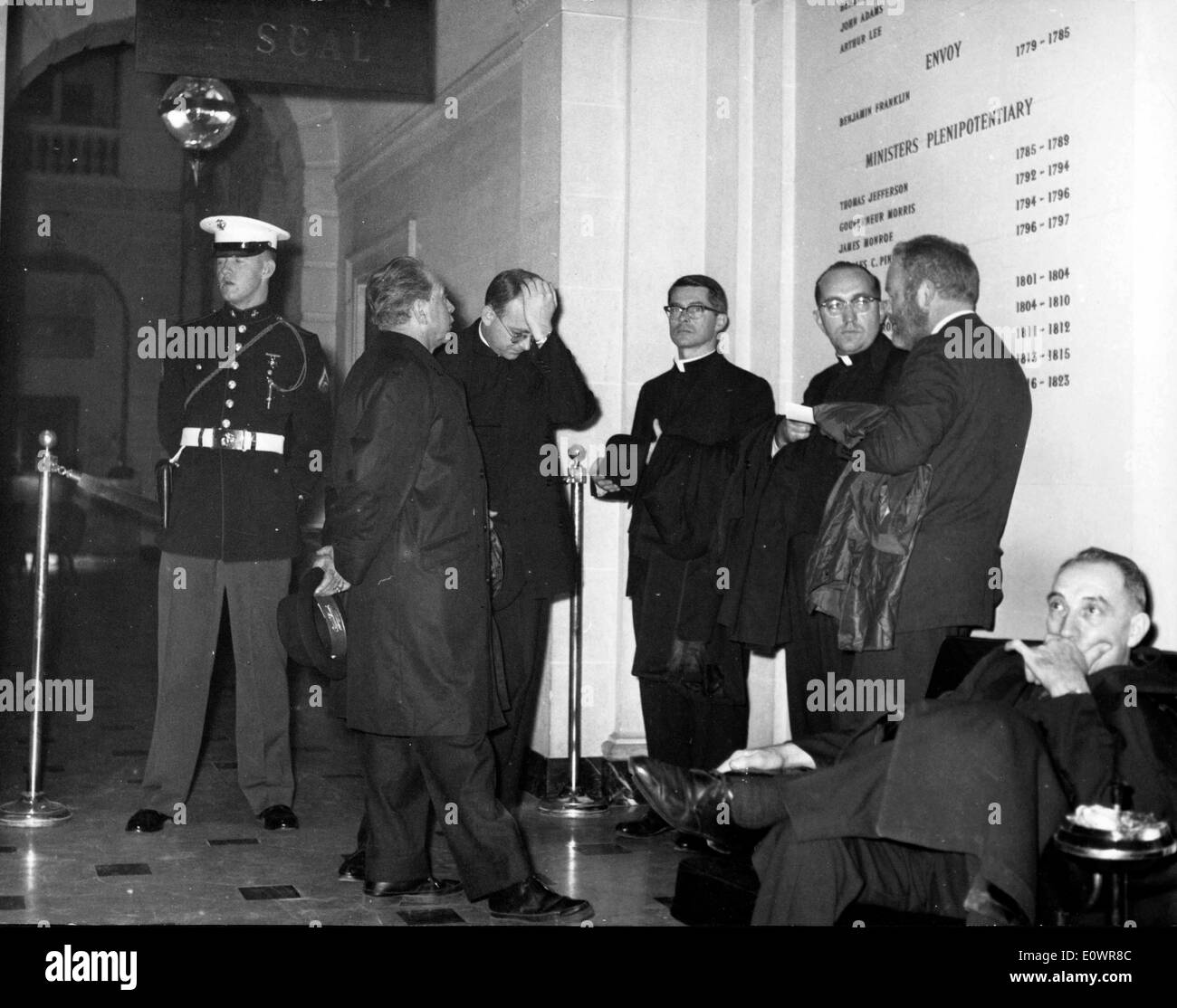 Nov 23, 1963; Paris, France; The American priests from Paris talking about the tragical assasination of President Kennedy at the U.S. Embassy. - Stock Image