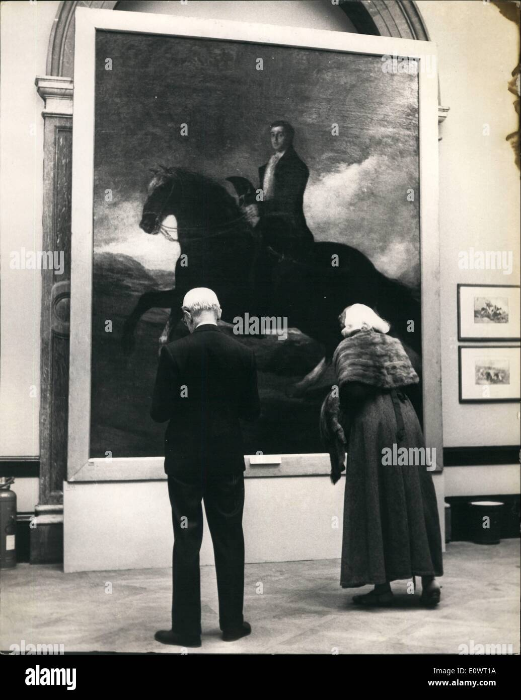 Dec. 12, 1963 - Private view of Goya Exhibition. ''Duke of Mellington Painting.: A Private view was held this morning at the Royal Academy of the exhibition of paintings by Goya and his contemporaries. The exhibits are valued at £7,500,000 - and the exhibition which cost the Academy £40,000 to stage, will last for three months. Photo shows ''Duke of Wellington'' - astride a horse - one of the paintings at the exhibition today. - Stock Image