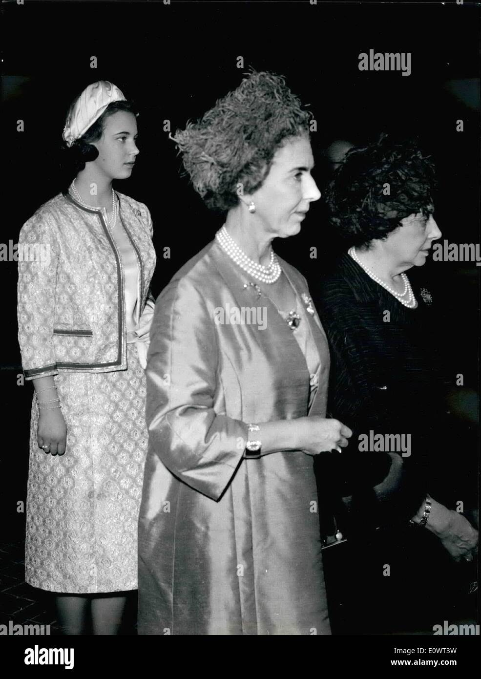 Apr. 04, 1964 - Rome, April 20th, 1964 - The Royale couple of Denmark King Frederick and Queen Ingrid arrived this morning to Rome for a three days official visit. The King and the Queen were accompanied by Princess Benedikte and by Foreign Minister Per Haerkkerup. The Royale guests were welcomed by Italian President Antonio Segni and Prime Minister Aldo Moro. - Stock Image