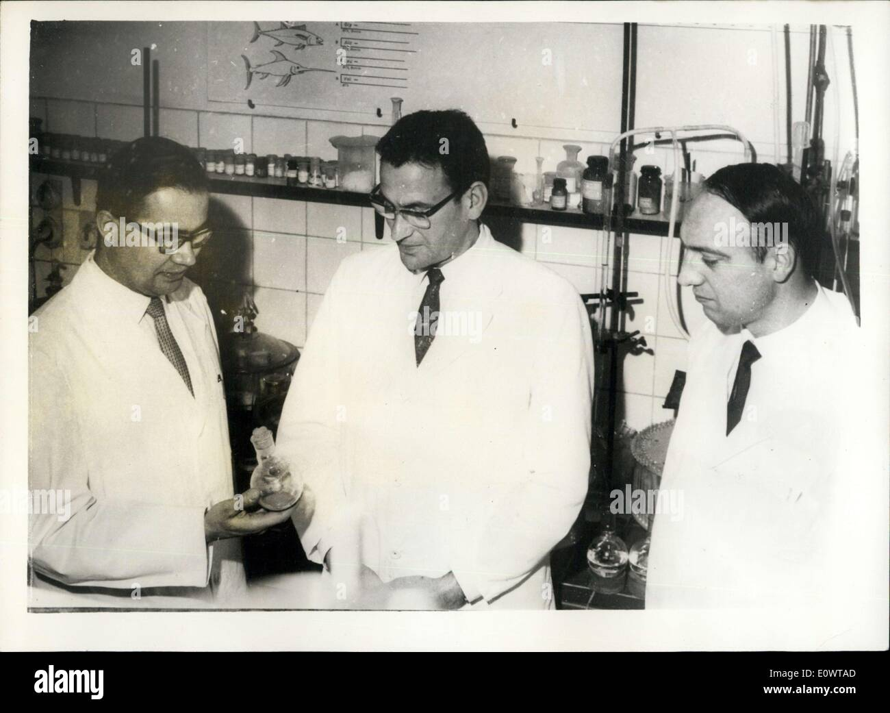 Feb. 14, 1964 - Aachen Scholars Produce Synthetic Insulin: Until now, Insulin, which is required by diabetes suffers, could only be obtained from the pancreas of animals, but now, after eight wears of research, scientists of the Technical High School at Aachen in Germany have achieved a breakthrough bu developing a synthetic type of Insulin, thus putting them ahead of scientists of other nations including American who have been working on similar projects.Photo Shows the leader of the team Dr. Helmut Zahn (center) with two of his collaborators, Dr. Johannes Meinhofer (left) and Sr - Stock Image