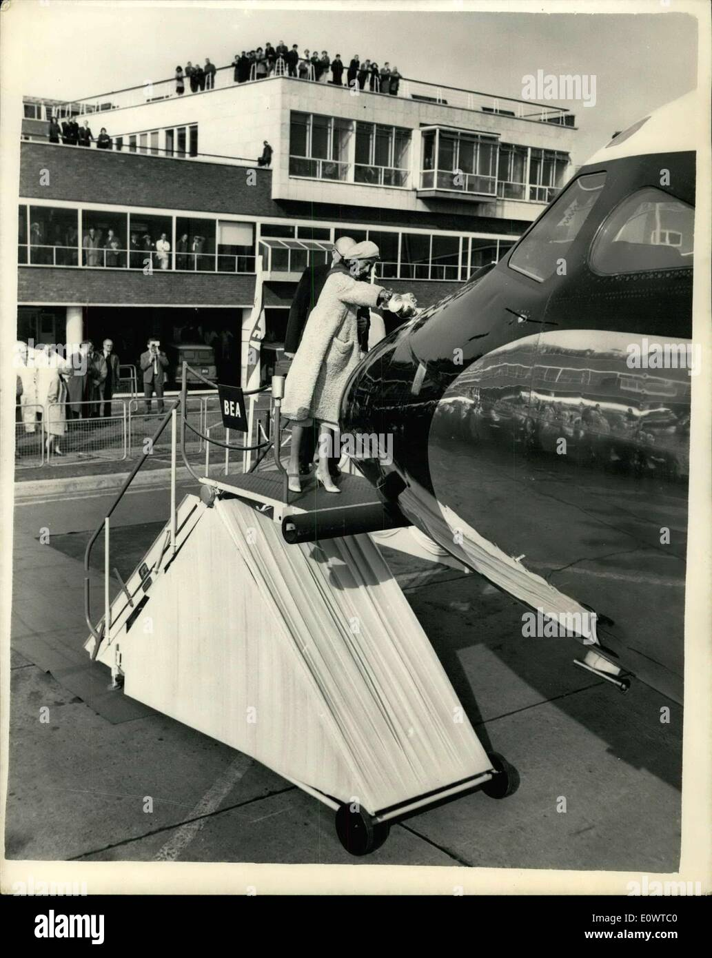 Feb. 28, 1964 - New ''Trident'' Jet Christened: At a ceremony at London Airport today, Lady Douglas Of Kirtleside, wife of the Chairman of B.E.A., christened the first of the new 610 m.p.h. ''three pronged'' Trident jet aircraft which is due to come into service very shortly. Photo shows Lady Douglas christens the Trident. - Stock Image