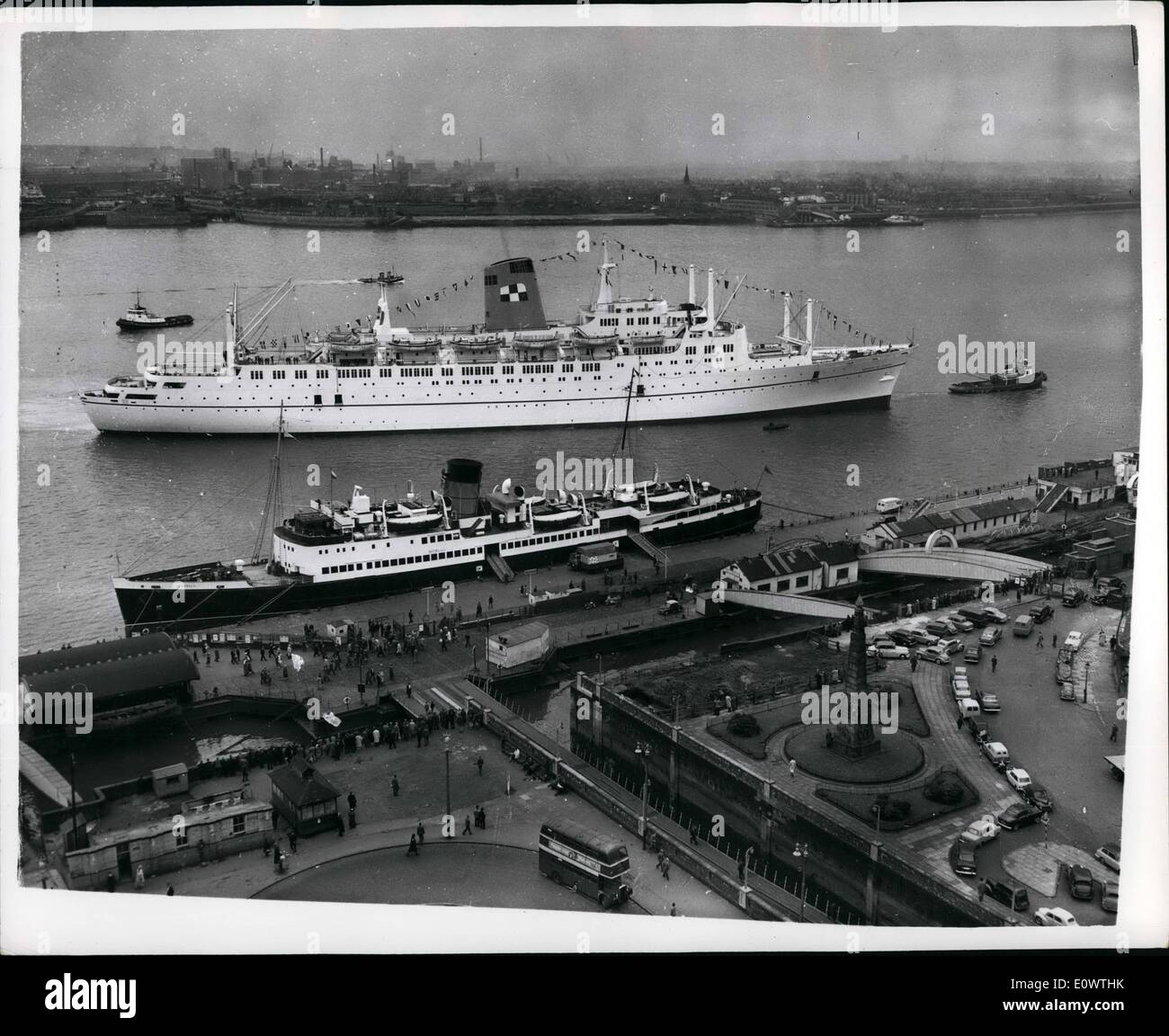 Apr. 04, 1964 - The New S.S. Empress Of Canada Leaves On Maiden Voyage: View of the new liner ''Empress of Canada'' ion the Mersey - as she leaves on her Maiden Voyage to Canada. The other Vessel tied up is the ''Twynswold'' - the isle of Man Vessel. - Stock Image
