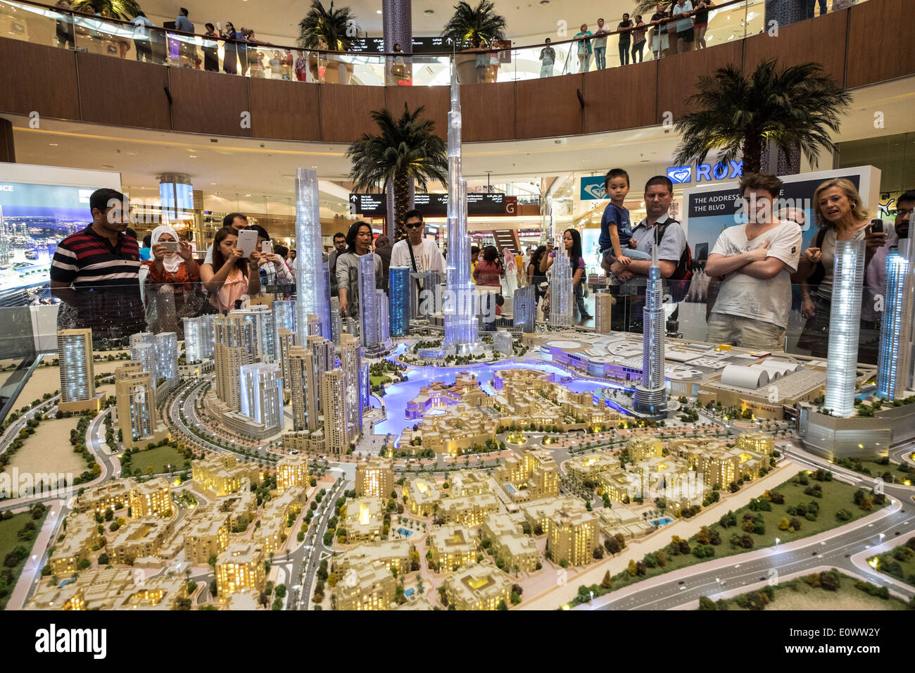 model of proposed property development with many apartment towers in Downtown Dubai by developer Emaar at Dubai Stock Photo