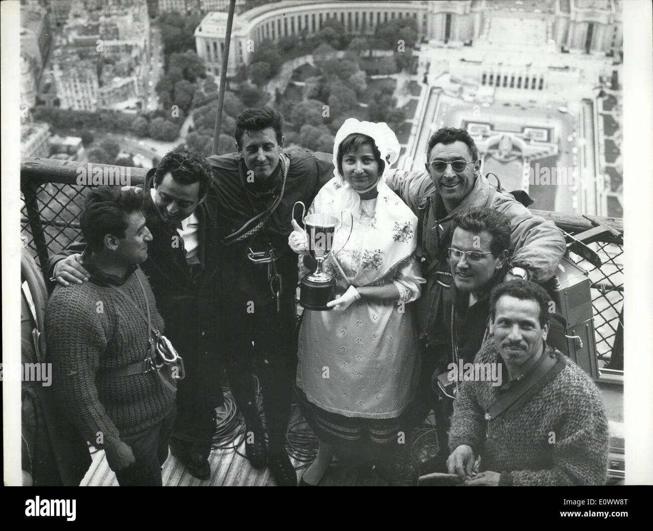 May 03, 1964 - Louisette Bertin with Alpinists at the Eiffel Tower - Stock Image