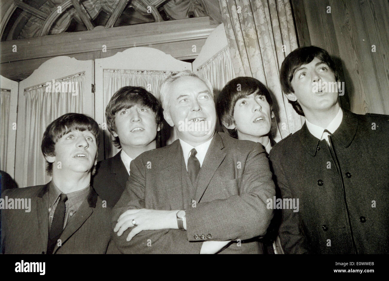 The Beatles meet Harold Wilson at the Dorchester Hotel - Stock Image