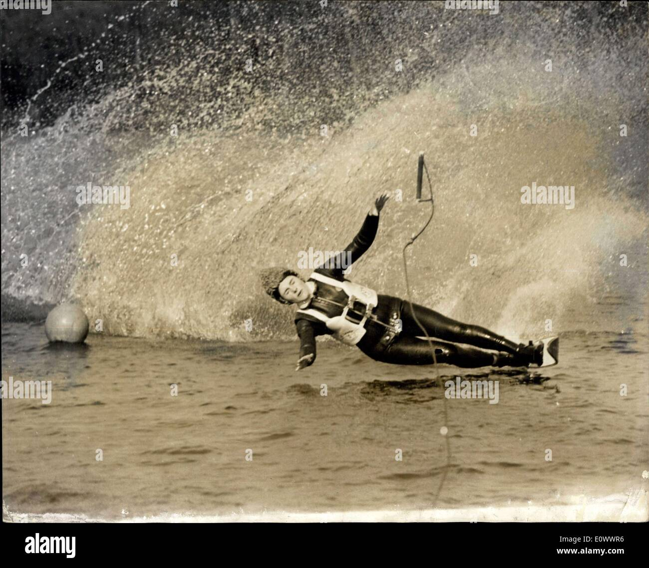 May 13, 1964 - Said to be Britain's best prospect ever for water skiing, in spite of the climatic difficulties which make all year round training difficult, is 17 year old Jeannete Stuart Wood, a schoolgirl from Headington, Oxon, who is Bristish overall ladies champion, and holder of the European Slalom and Jumping Champion, the first British skier to win two tiles. She has jumped 75-80 feet, and has reached a top slalom speed of 34 mph, and is expected to reach 38 mph this season - Stock Image