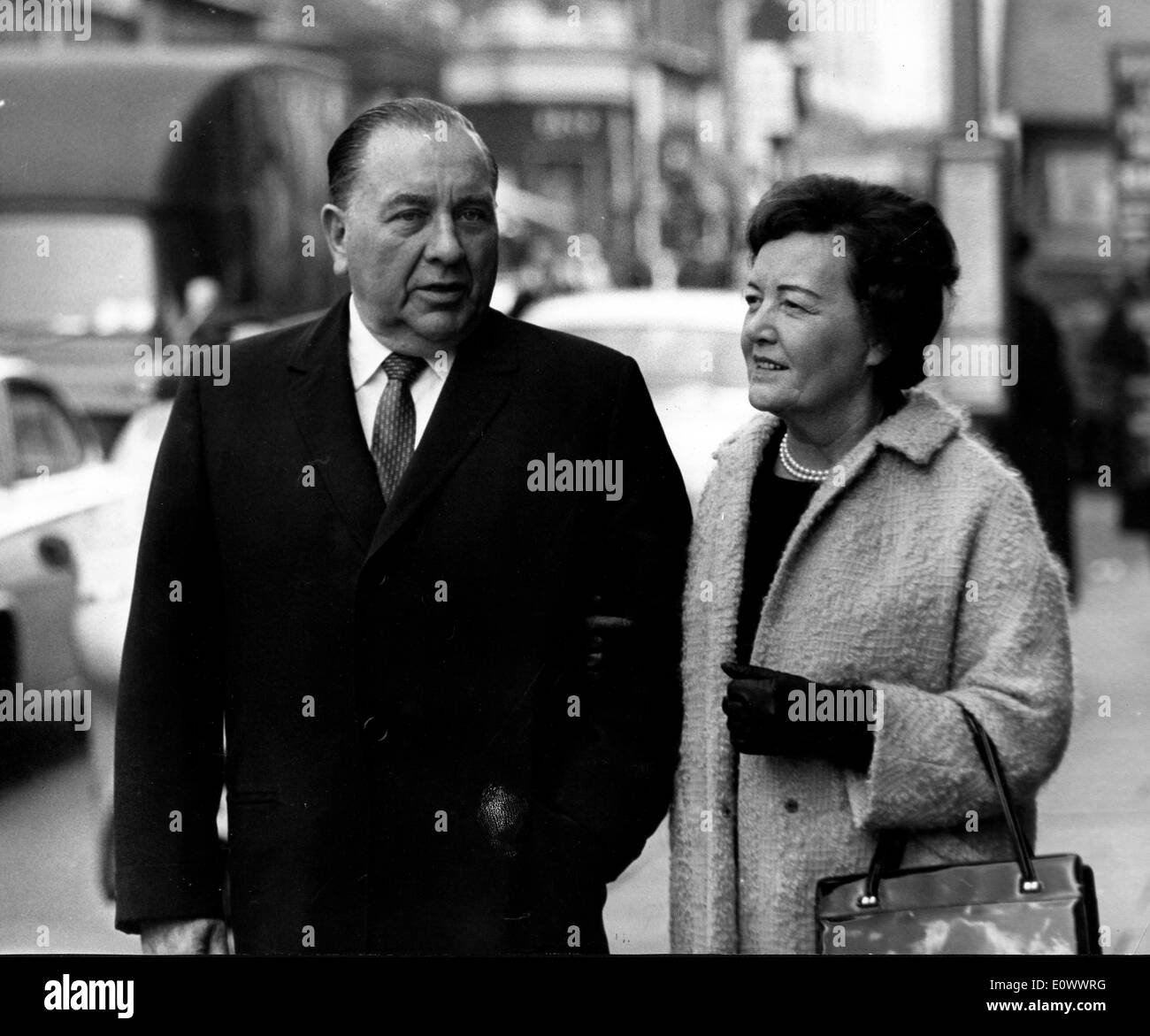 Mayor Richard J. Daley visits London with wife Eleanor - Stock Image