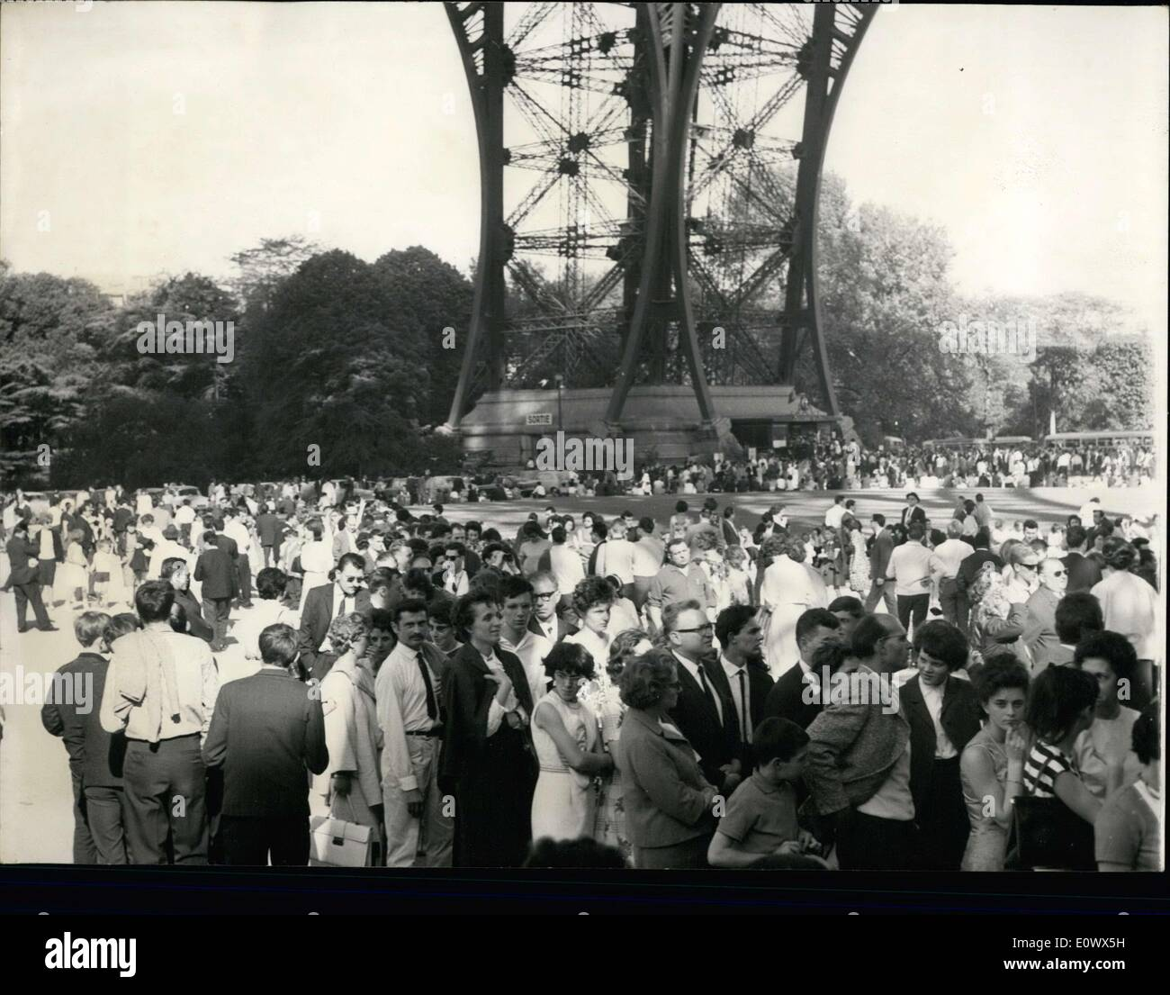 May 17, 1964 - Visitors at the Eiffel Tower - Stock Image
