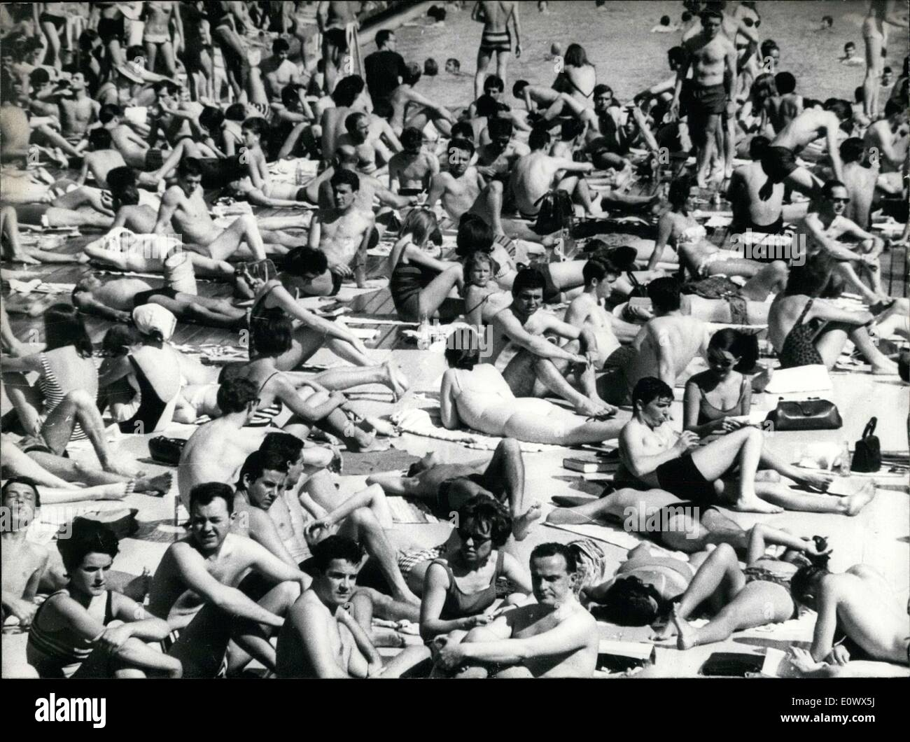 May 17, 1964 - People at the Pool in Paris - Stock Image