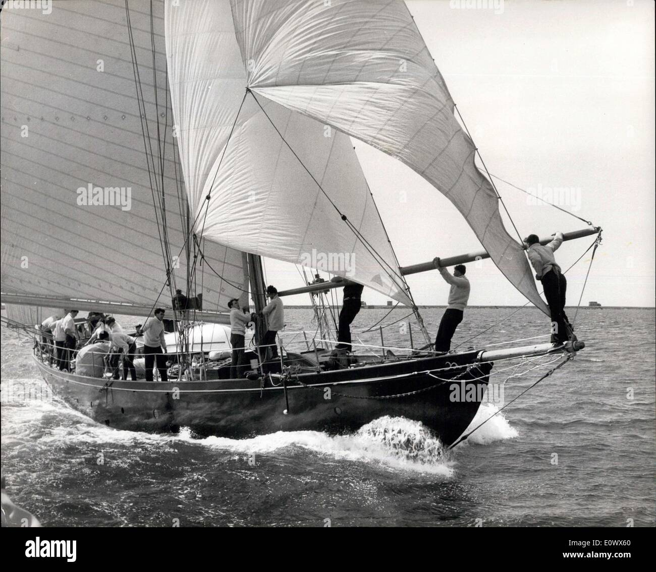 May 21, 1964 - British Yacht Prepares For ''Tall Ships'' Race - The 52 tom yawl Tawau, Crewed by Youngsters from Youth Organisations all over the Country will be Britain's Entry in the ''Tall Ships'' race starting on Sunday, May 24 from Plymouth to New York via Lisson and Bermuda - Photo Shows: Crew Members Hard at Work on the Tawau During Practice in Plymouth Sound. - Stock Image