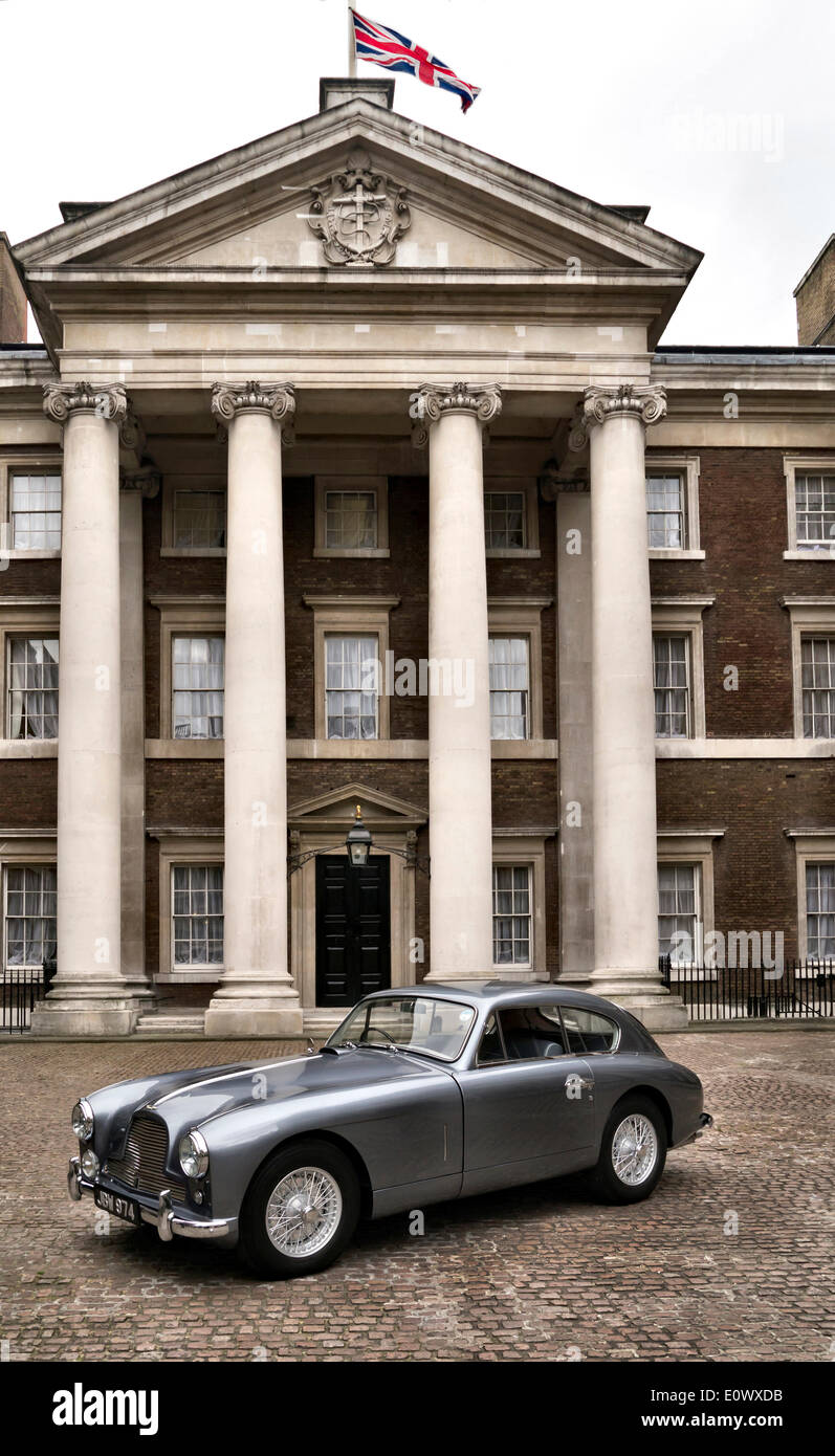 Whitehall, London, UK. 20th May 2014. 1954 Aston Martin DB2/4 thought to be the inspiration for Ian Fleming's Commander James Bond 007 Credit:  Martyn Goddard/Alamy Live News - Stock Image