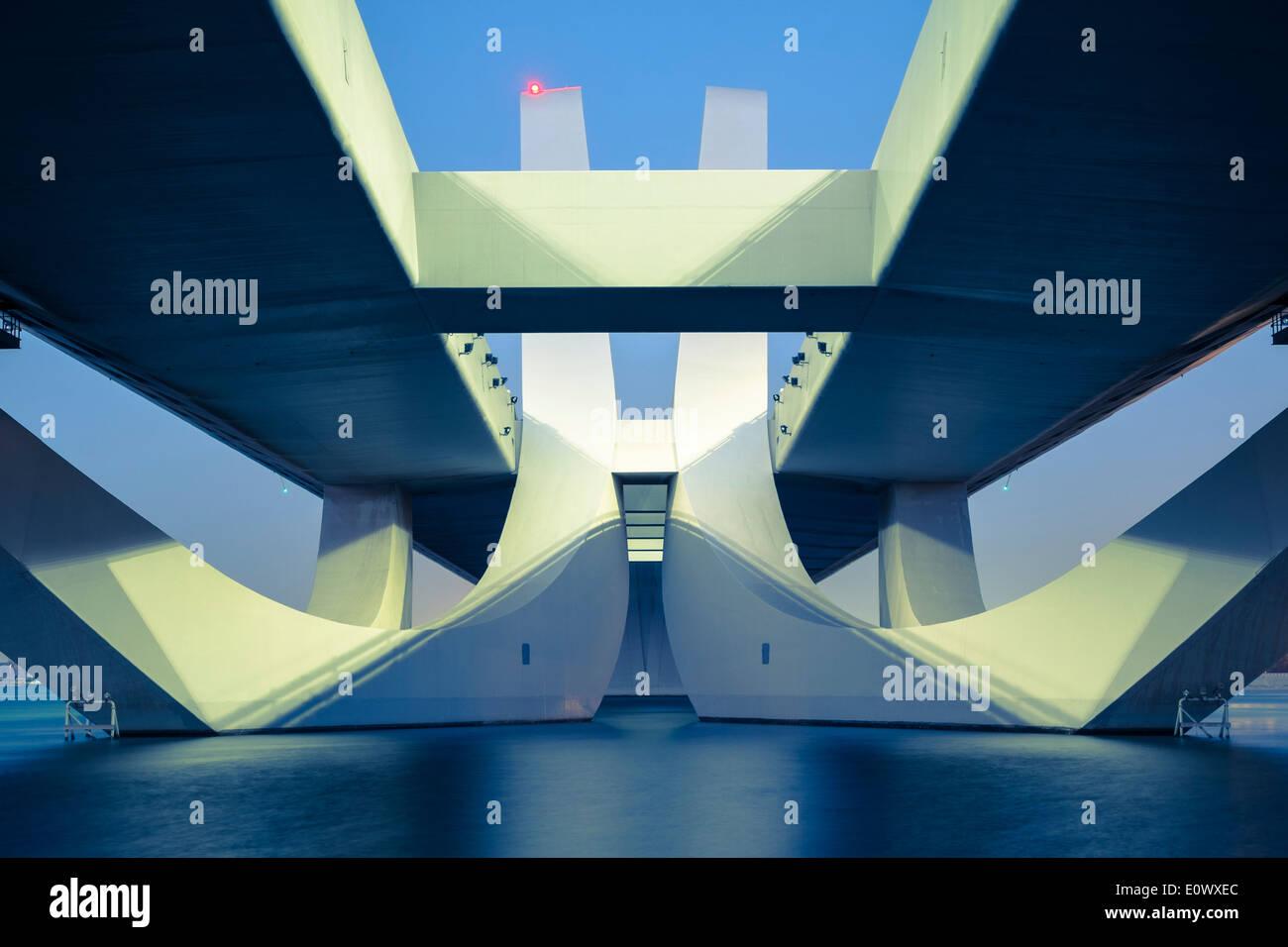 Modern Sheikh Zayed Bridge designed by Zaha Hadid in Abu Dhabi United Arab Emirates Stock Photo