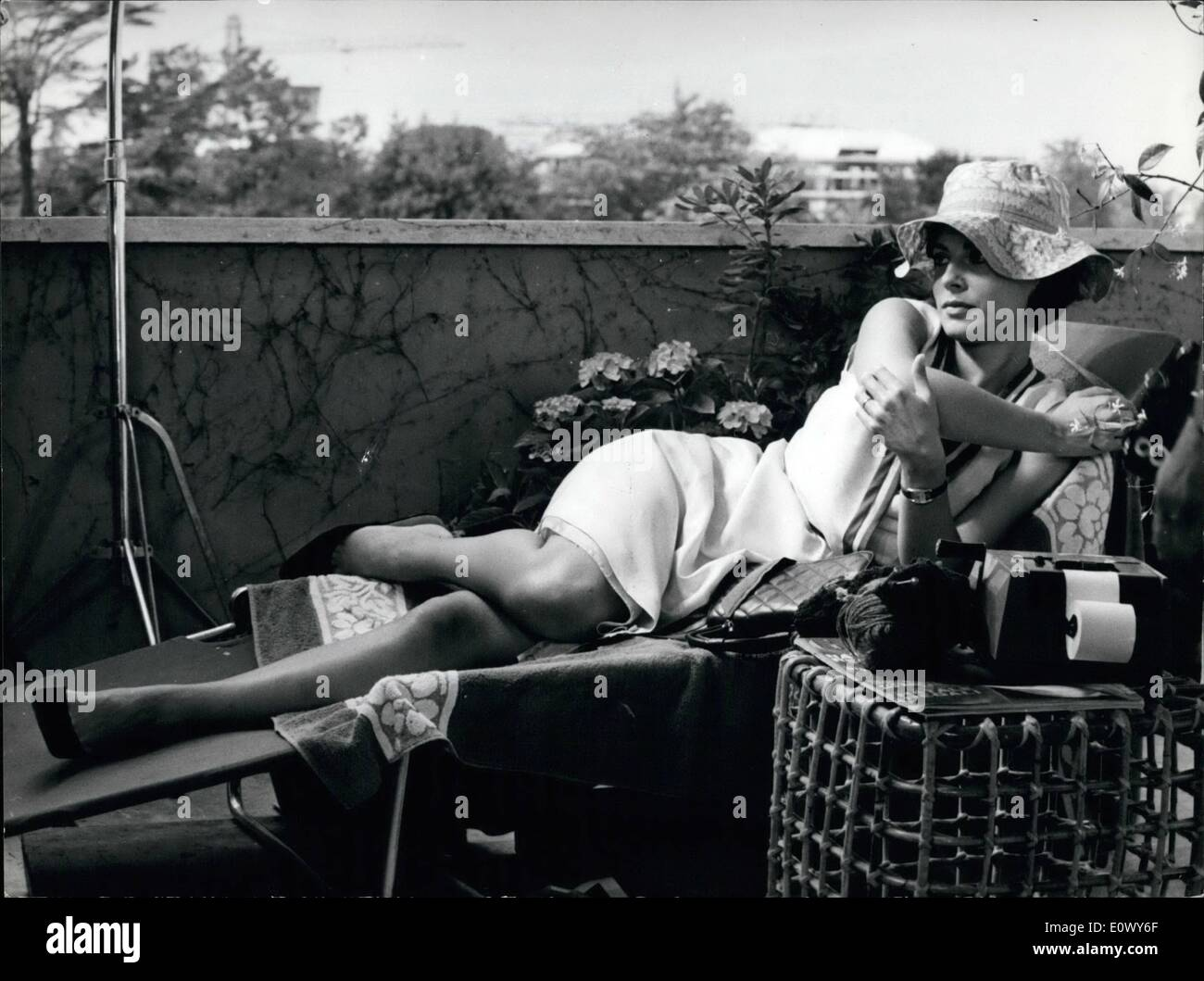 Jun. 06, 1964 - Anna Maria Ferrero the italian film star wife of French actor Jean Sorel is in Rome; for the first time since she married, the actress has began the shooting of a new film: a comic story ''Cocaine la dimanche'' with well-known italian comic actor Nino Manfredi. - Stock Image
