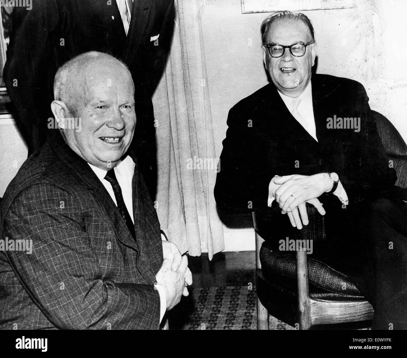 Nikita Khrushchev with Tage Erlander - Stock Image