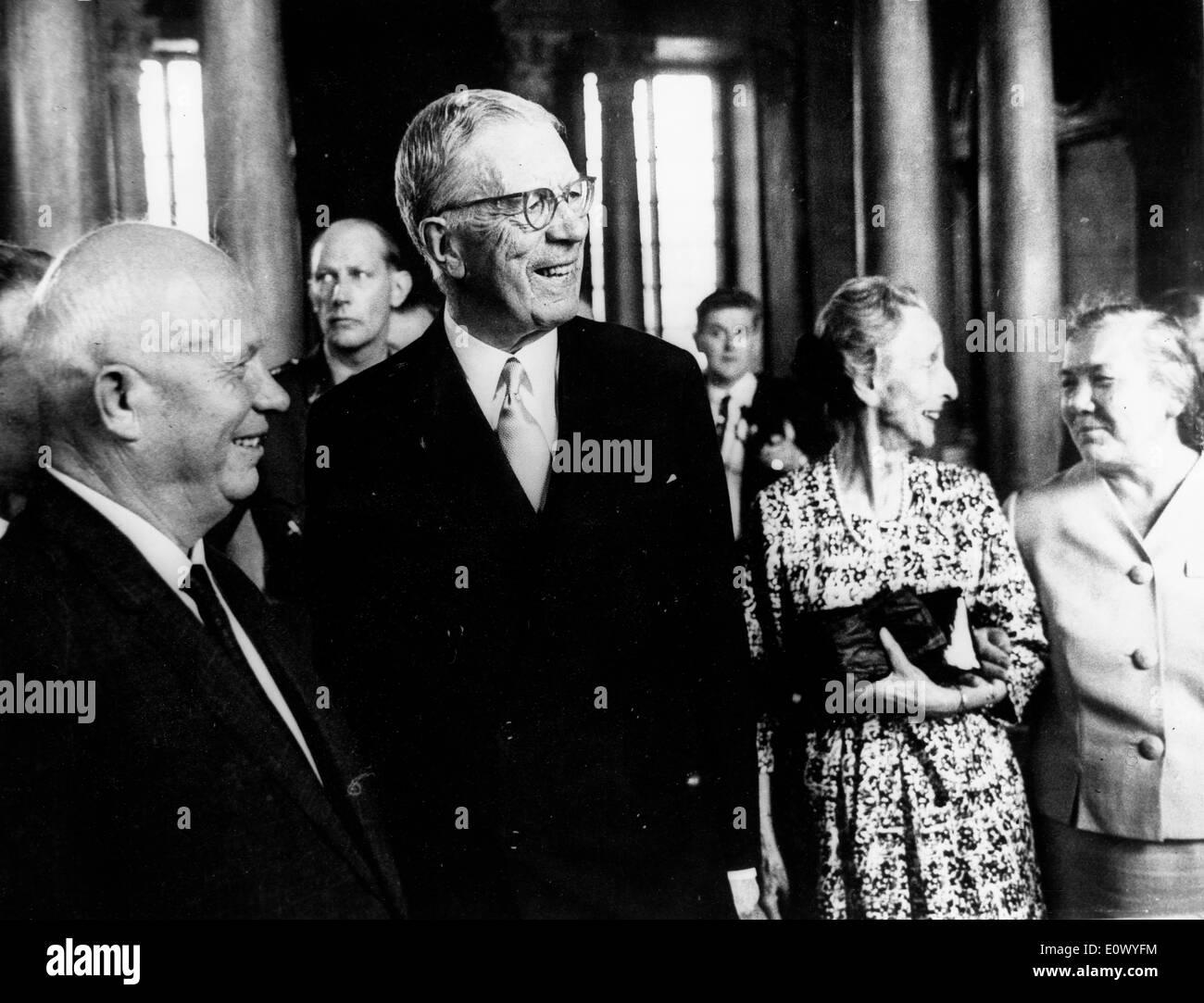 Nikita Khrushchev meets King Gustaf Adolf at the Royal Palace - Stock Image