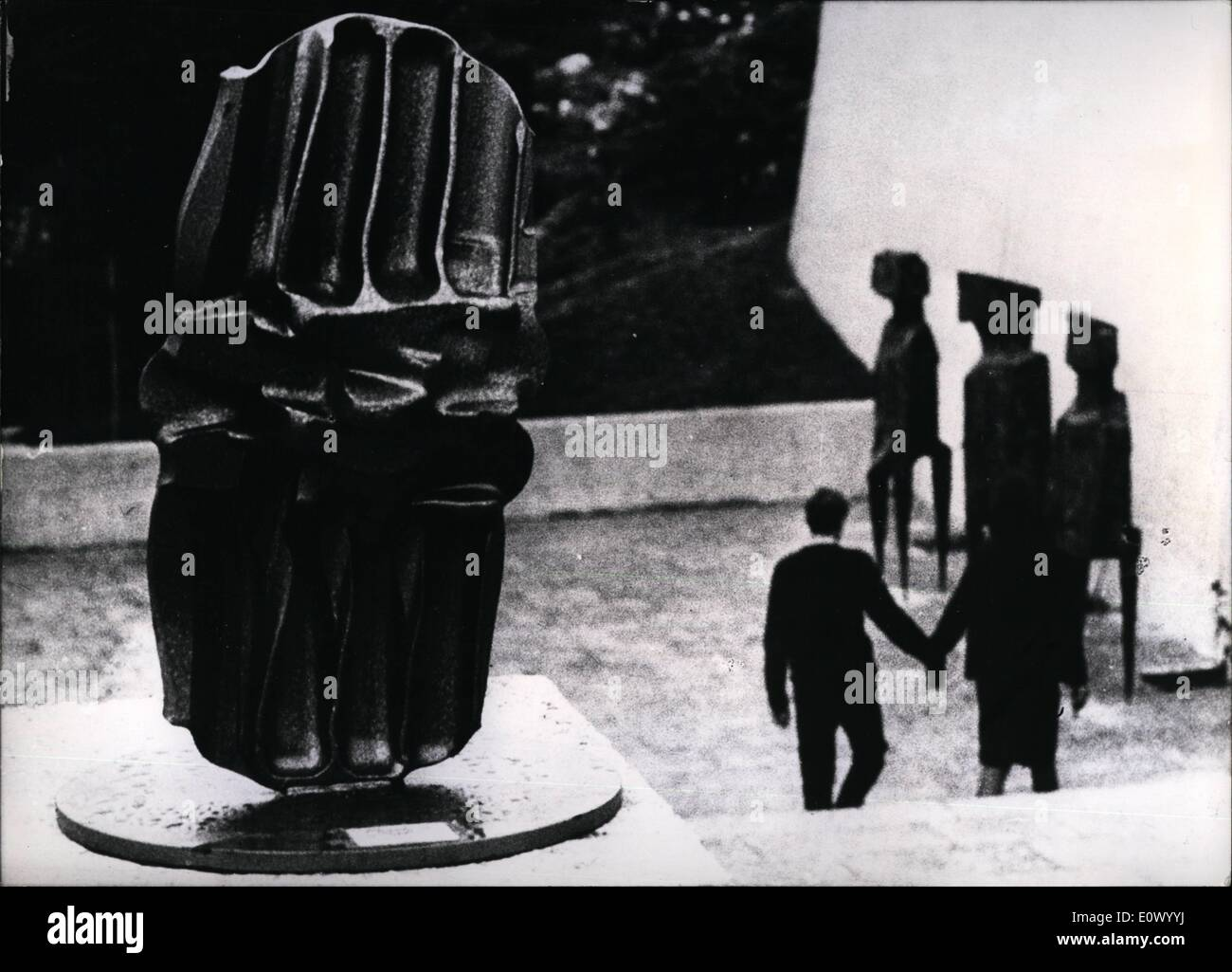 Jul. 07, 1964 - ''Phantasy of steel''. is the name given to this ''plastic'' by the workmen of a forgery in Kassel, Germany. The giant steel block has lost its form under a hammer in the factory. So the workmen decided to polish it, put it on a scole and exhibit it in the famous ''documenta III'' at Kassel, where famous artists from all over the world show their sculptures, painting and plastics. But the documenta-direction did not accept their ''sculpture'' as a work of art and let it remove from the exhibit grounds - Stock Image