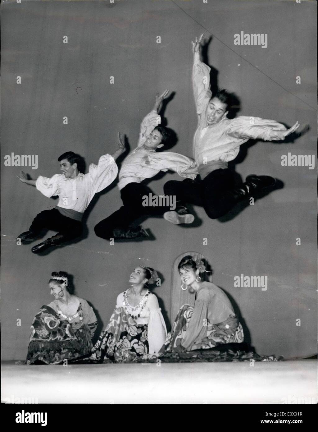 Sep. 09, 1964 - MOSCOW DANCE COMPANY REHEARSES IN LONDON, THE BESSARABIAN GIPSY DANCE.. Members of the MOISEYEV DANCE COMPANY of 150 artistes - were to be seen rehearsing this afternoon at the Royal Albert Hall for the opening there this evening of their London Season. Their programme includes a 'take-off' of ''The Beatles'' - and a Football match. KEYSTONE PHOTO SHOWS:- Scene during the BESSARABIAN GIPSY DANCE - at the Royal Albert Hall today. - Stock Image